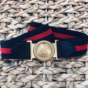 Navy Blue Talbots L Stretch Belt Gold Buckle Crest